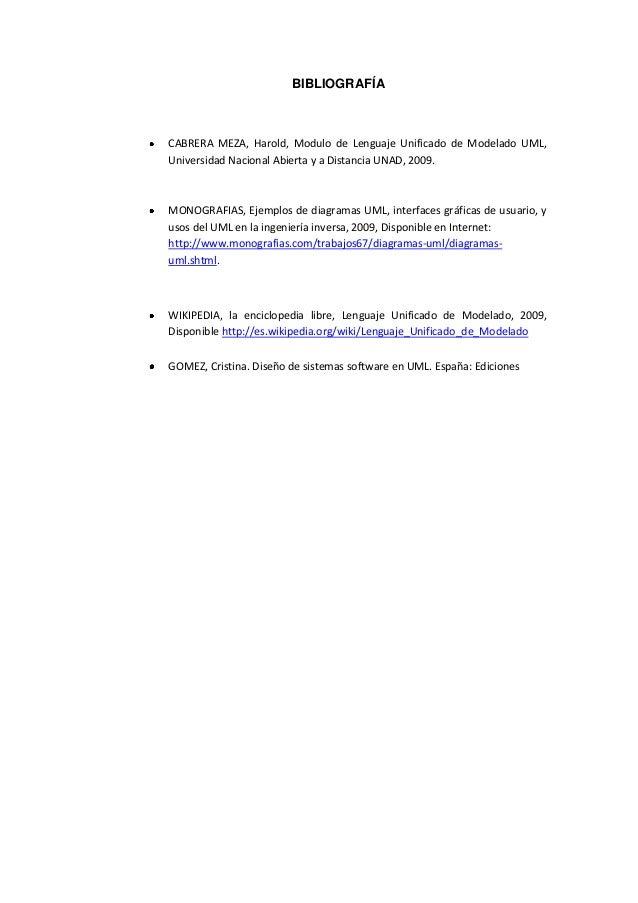 BIBLIOGRAFÍACABRERA MEZA, Harold, Modulo de Lenguaje Unificado de Modelado UML,Universidad Nacional Abierta y a Distancia ...
