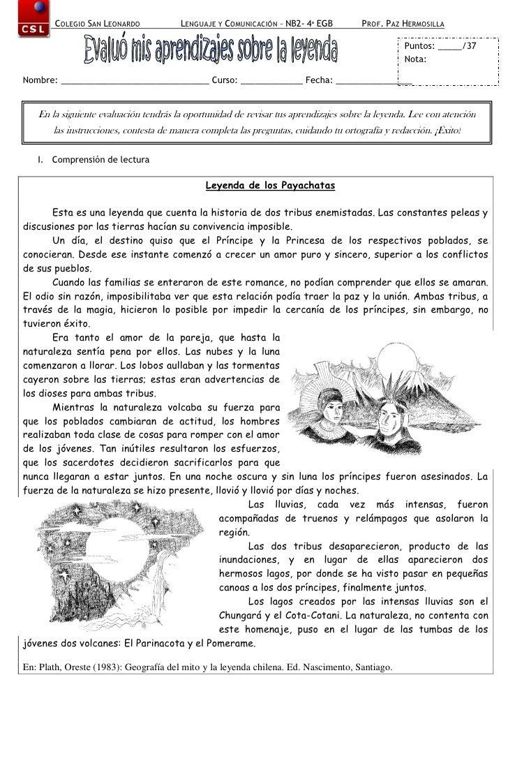COLEGIO SAN LEONARDO            LENGUAJE Y COMUNICACIÓN – NB2- 4ª EGB          PROF. PAZ HERMOSILLA                       ...