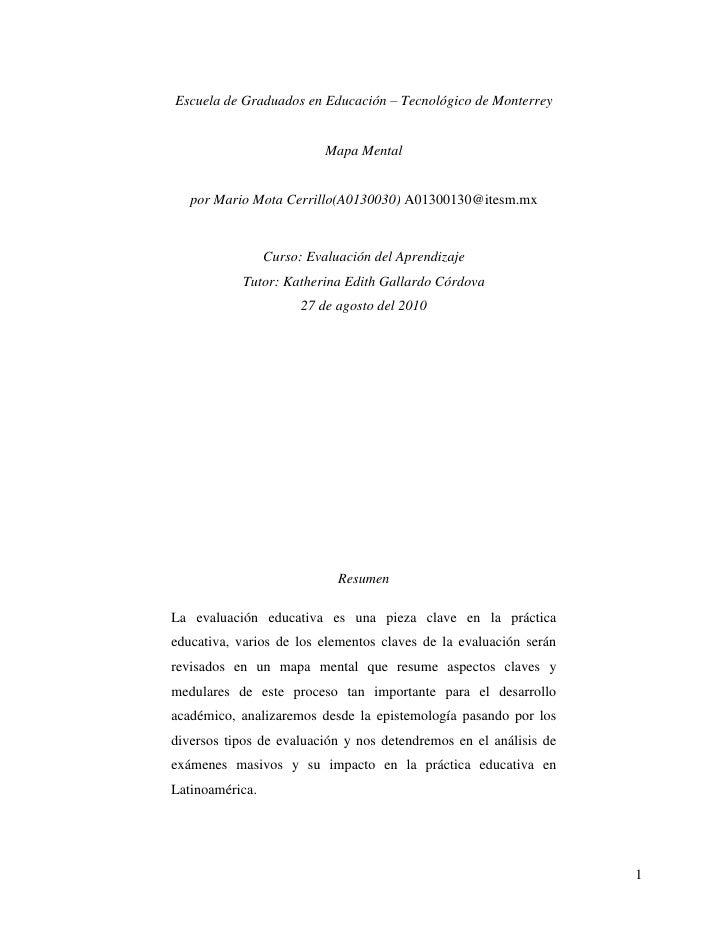 Escuela de Graduados en Educación – Tecnológico de Monterrey<br />Mapa Mental<br />por Mario Mota Cerrillo (A0130030) A013...