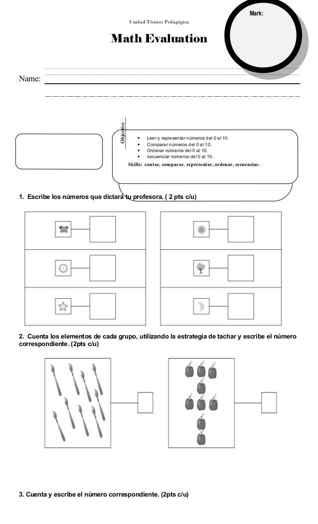 Unidad Técnico Pedagógica Math Evaluation 1. Escribe los números que dictará tu profesora. ( 2 pts c/u) 2. Cuenta los elem...