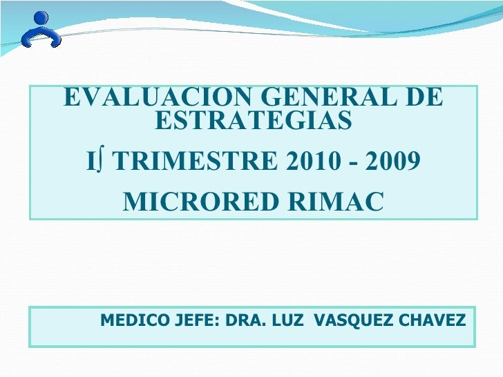 EVALUACION GENERAL DE ESTRATEGIAS Iº TRIMESTRE 2010 - 2009 MICRORED RIMAC MEDICO JEFE: DRA. LUZ  VASQUEZ CHAVEZ