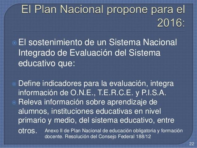El sostenimiento de un Sistema Nacional Integrado de Evaluación del Sistema educativo que:  Define indicadores para la e...