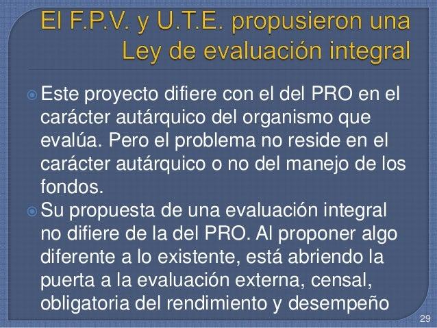 Este proyecto difiere con el del PRO en el carácter autárquico del organismo que evalúa. Pero el problema no reside en el...