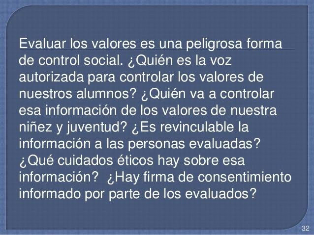 Evaluar los valores es una peligrosa forma de control social. ¿Quién es la voz autorizada para controlar los valores de nu...