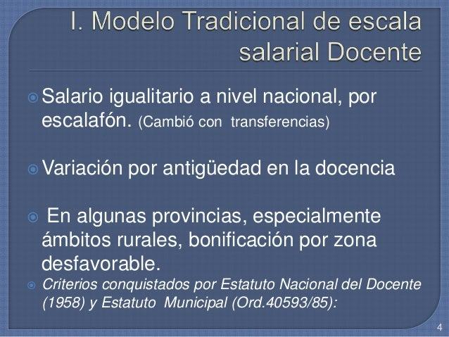 Salario igualitario a nivel nacional, por escalafón. (Cambió con transferencias) Variación por antigüedad en la docencia...