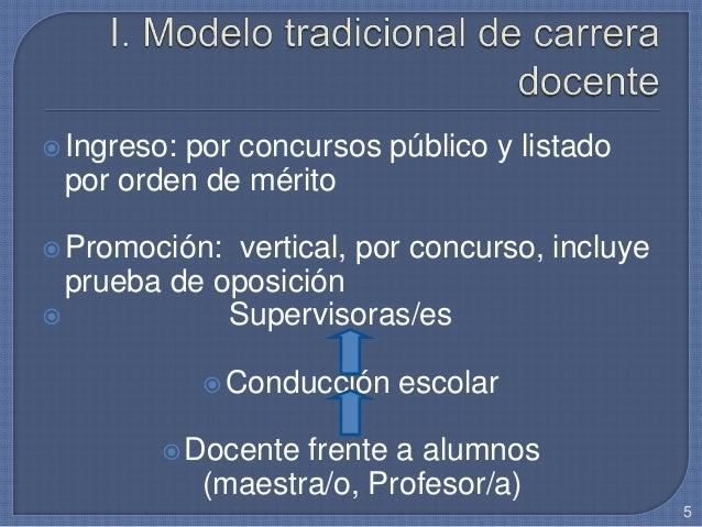 Ingreso: por concursos público y listado por orden de mérito Promoción: vertical, por concurso, incluye prueba de oposic...