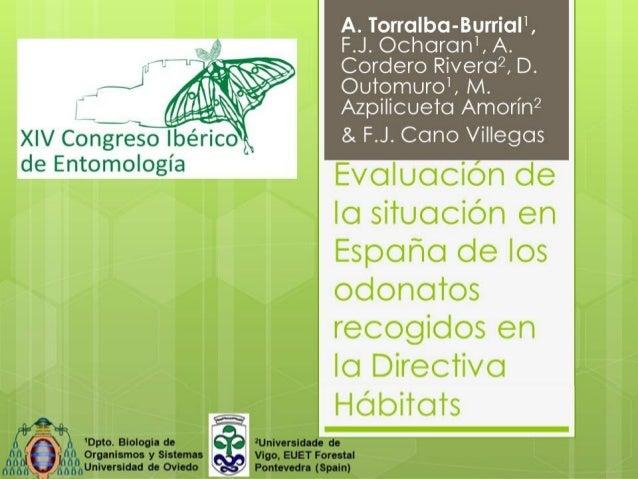 A. Torralba-Burrial1, F.J. Ocharan1, A. Cordero Rivera2, D. Outomuro1, M. Azpilicueta Amorín2 & F.J. Cano Villegas  Evalua...