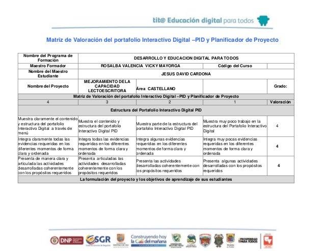 Matriz de Valoración del portafolio Interactivo Digital –PID y Planificador de Proyecto Nombre del Programa de Formación D...
