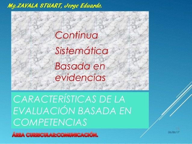 CARACTERÍSTICAS DE LA EVALUACIÓN BASADA EN COMPETENCIAS Continua Sistemática Basada en evidencias 06/06/17 18