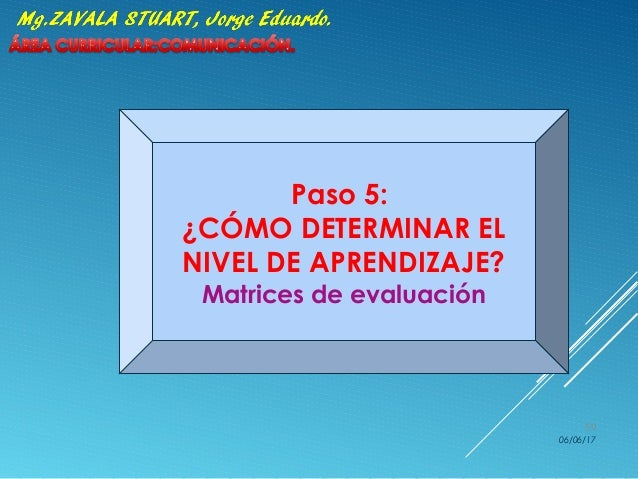 Paso 5: ¿CÓMO DETERMINAR EL NIVEL DE APRENDIZAJE? Matrices de evaluación 06/06/17 59