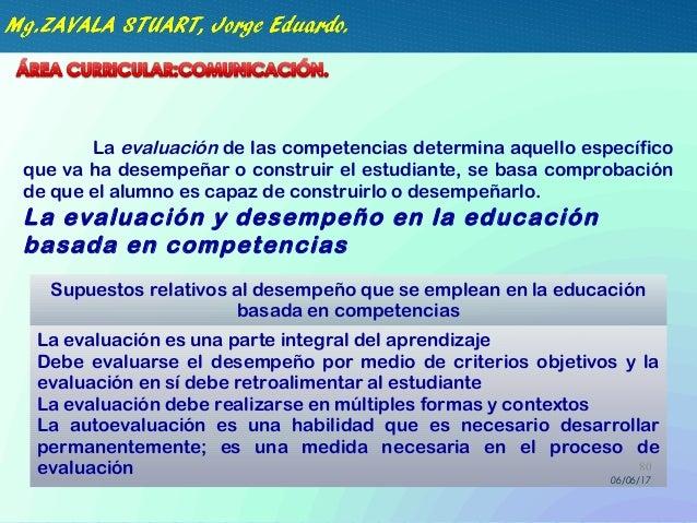 La evaluación de las competencias determina aquello específico que va ha desempeñar o construir el estudiante, se basa com...