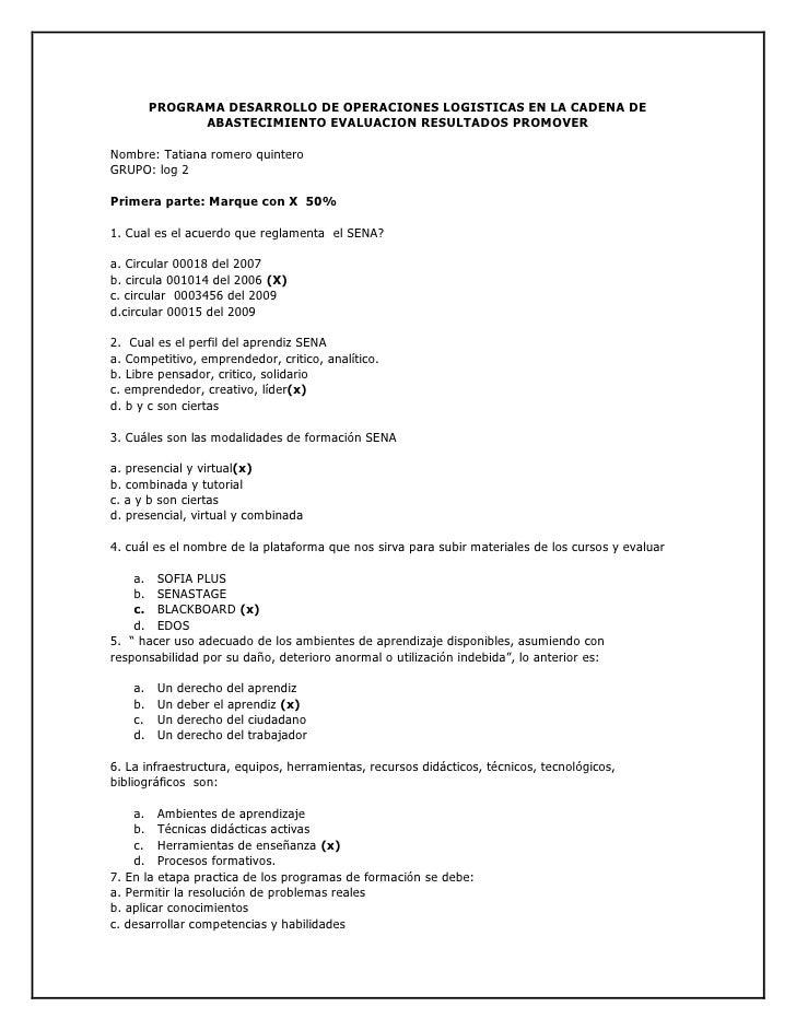 PROGRAMA DESARROLLO DE OPERACIONES LOGISTICAS EN LA CADENA DE ABASTECIMIENTO EVALUACION RESULTADOS PROMOVER<br />Nombre: T...
