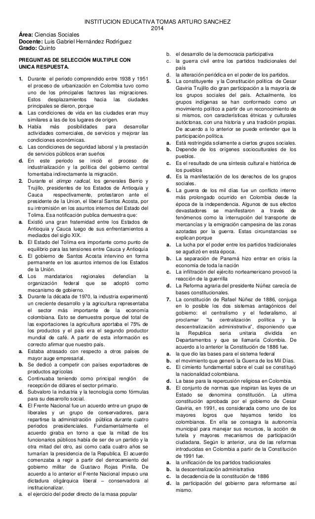 INSTITUCION EDUCATIVA TOMAS ARTURO SANCHEZ 2014 Área: Ciencias Sociales Docente: Luis Gabriel Hernández Rodríguez Grado: Q...