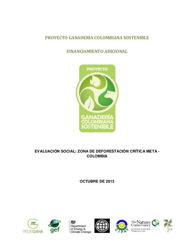 PROYECTO GANADERÍA COLOMBIANA SOSTENIBLE FINANCIAMIENTO ADICIONAL  EVALUACIÓN SOCIAL: ZONA DE DEFORESTACIÓN CRÍTICA META C...