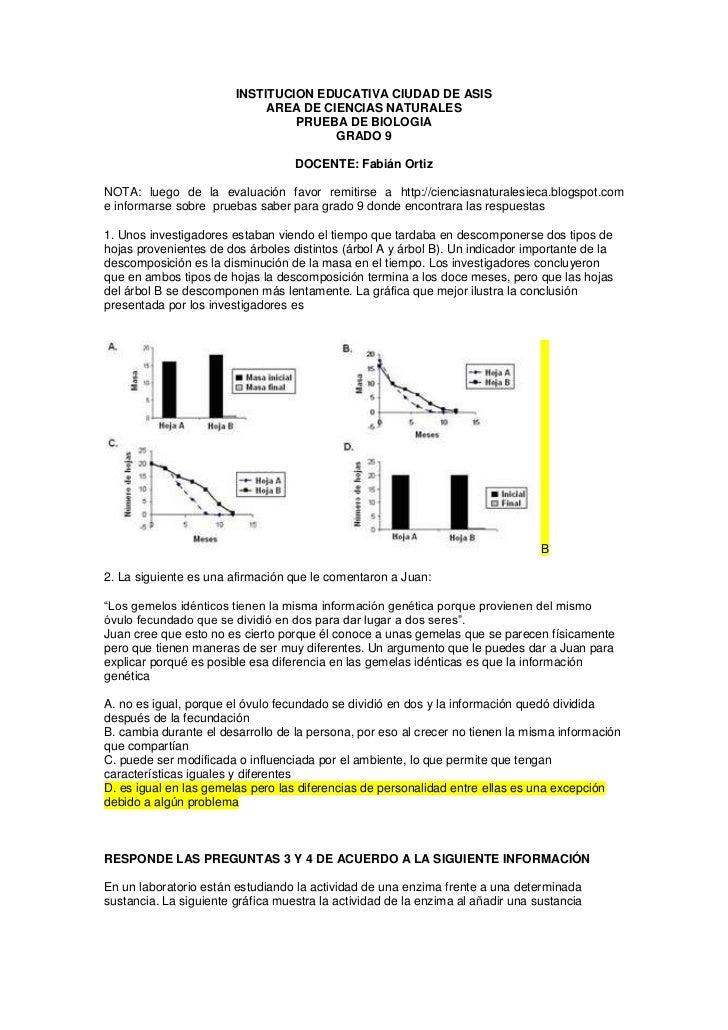 INSTITUCION EDUCATIVA CIUDAD DE ASIS<br />AREA DE CIENCIAS NATURALES<br />PRUEBA DE BIOLOGIA<br />GRADO 9<br />DOCENTE: Fa...