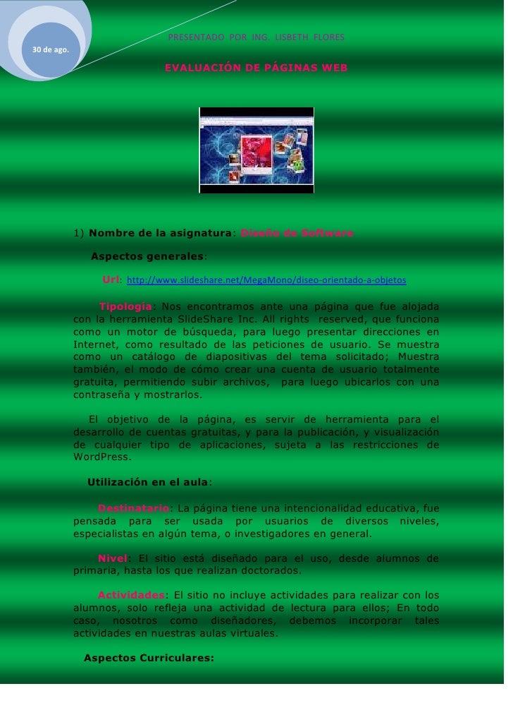EVALUACIÓN DE PÁGINAS WEB<br />Nombre de la asignatura: Diseño de Software<br />     Aspectos generales:<br />         Url...