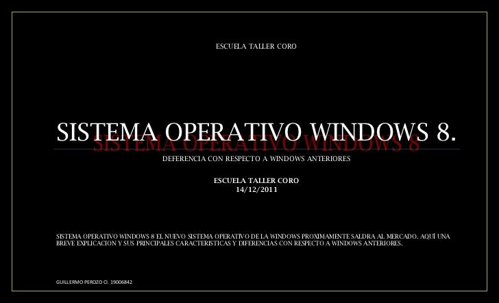 ESCUELA TALLER COROSISTEMA OPERATIVO WINDOWS 8.                                DEFERENCIA CON RESPECTO A WINDOWS ANTERIORE...