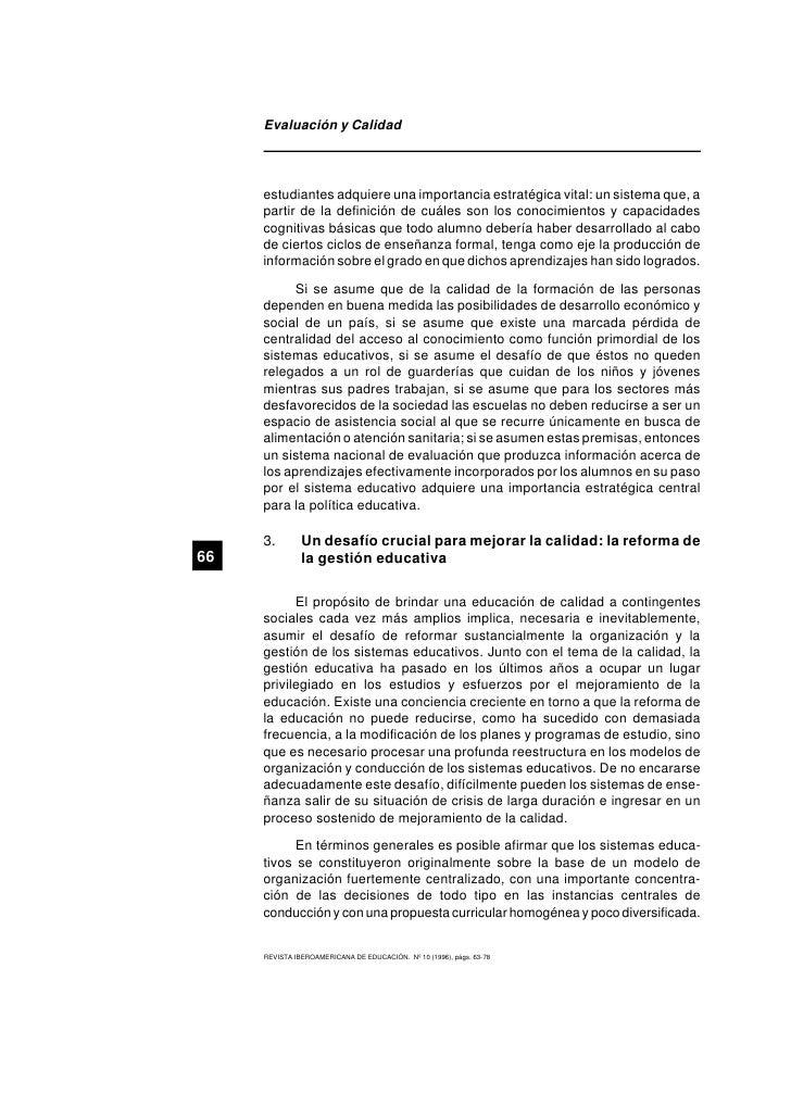 evaluacion y calidad Evaluación de la calidad de la educación tomado del número 10 de la revista iberoamericana de educación, publicada en madrid (españa) por la organización de estados iberoamericanos para la.