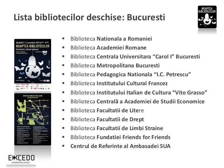 "Lista bibliotecilor deschise: In tara (1)             Biblioteca Municipala ""Liviu Rebreanu"" Aiud             Biblioteca..."
