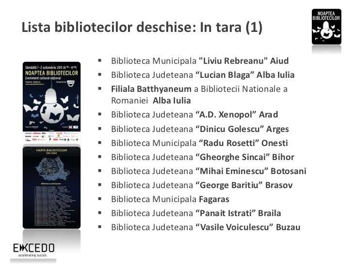 """Lista bibliotecilor deschise: In tara (2)               Biblioteca Judeteana """"Alexandru Odobescu"""" Calarasi              ..."""