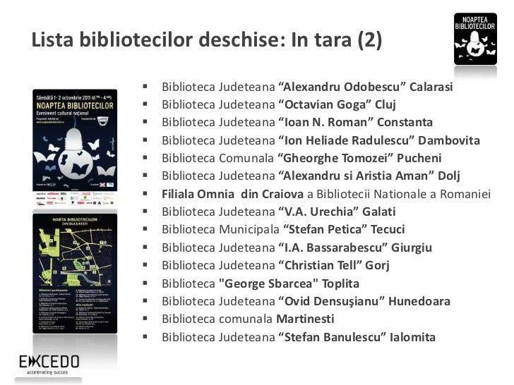 "Lista bibliotecilor deschise: In tara (3)                Biblioteca Judeteana ""Gheorghe Asachi"" Iasi                Bibl..."