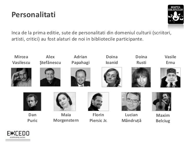 PersonalitatiInca de la prima editie, sute de personalitati din domeniul culturii (scriitori,artisti, critici) au fost ala...
