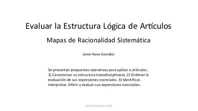 Evaluar la Estructura Lógica de Ar1culos Javier Nava González Mapas de Racionalidad Sistemática Sepresentanpropuestasop...