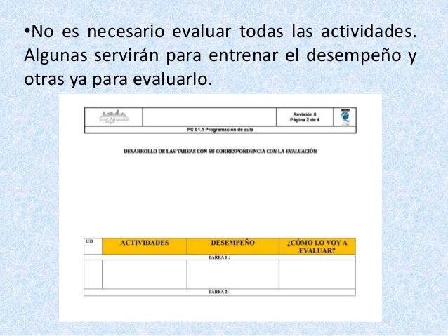 •No es necesario evaluar todas las actividades. Algunas servirán para entrenar el desempeño y otras ya para evaluarlo.
