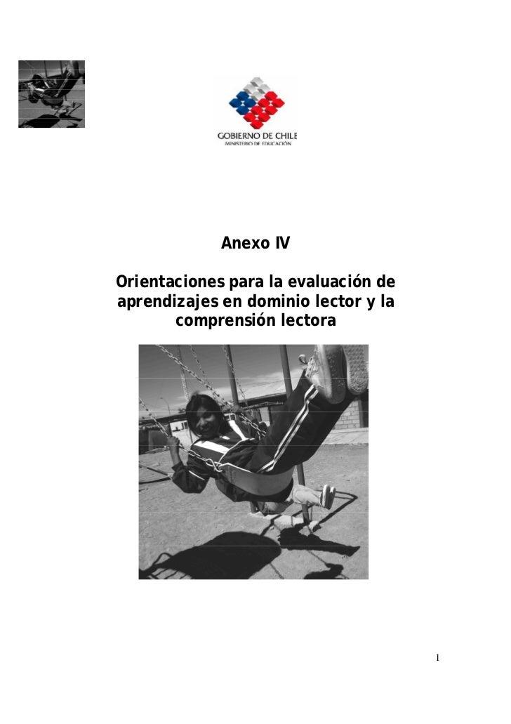 Anexo IVOrientaciones para la evaluación deaprendizajes en dominio lector y la       comprensión lectora                  ...