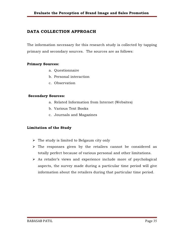 sales promotion questionnaire project pdf