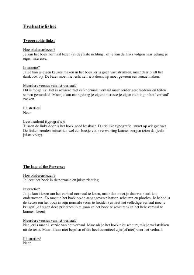Evaluatiefishe:Typographic links:Hoe bladeren/lezen?Je kan het boek normaal lezen (in de juiste richting), of je kan de li...