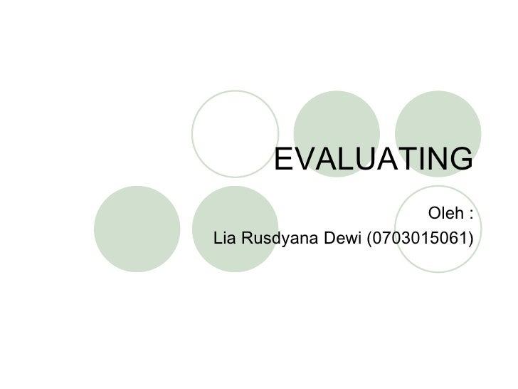 Evaluating dalam Manajemen