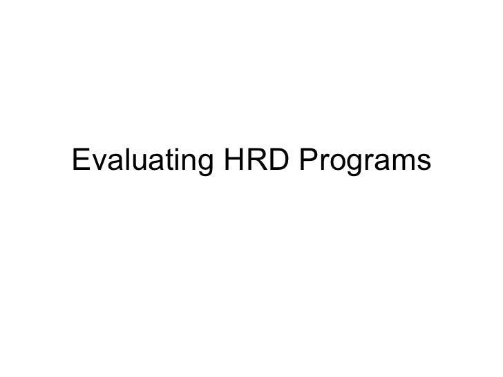 Evaluating HRD Programs