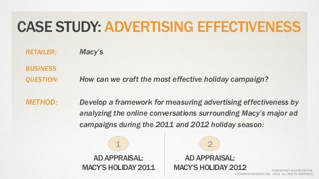 CASE STUDY: ADVERTISING EFFECTIVENESS RETAILER:   Macy's BUSINESS QUESTION:   How can we craft the most effective holiday ...