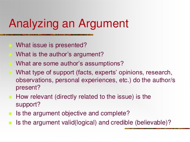 an analysis of elements of argument The argument of the declaration of independence created by introducing them to the elements of a good argument deeper analysis of the declaration and.