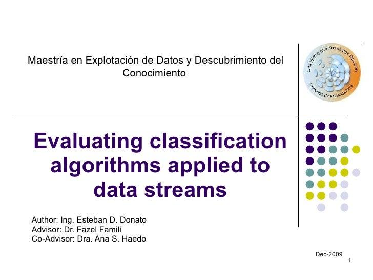 Evaluating classification algorithms applied to data streams Author: Ing. Esteban  D. Donato Advisor: Dr. Fazel Famili Co-...