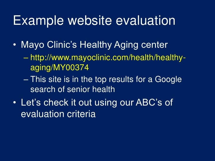 evaluating health websites Aba website, uses case and statutory law and other legal precedents to separate  legal  nih guide to evaluating health and medical websites.