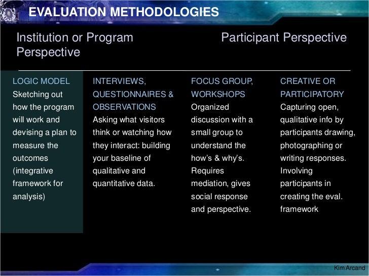 EVALUATION METHODOLOGIES<br />Intro<br />Participant Perspective<br />Institution or Program Perspective<br />TRAILER<br /...