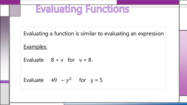 Evaluating functions basic rules
