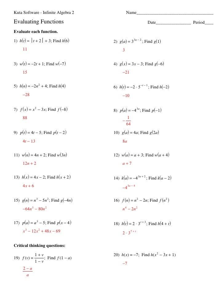 Kuta Software Infinite Algebra 2 Worksheet Answers Free Worksheets – Algebra 2 Worksheet Answers
