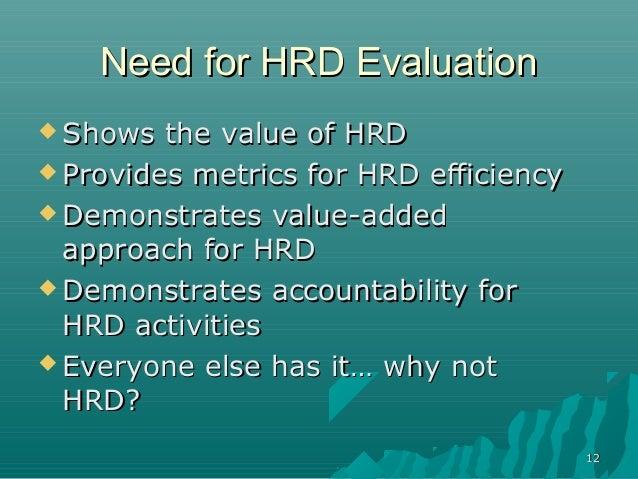 1212Need for HRD EvaluationNeed for HRD Evaluation Shows the value of HRDShows the value of HRD Provides metrics for HRD...