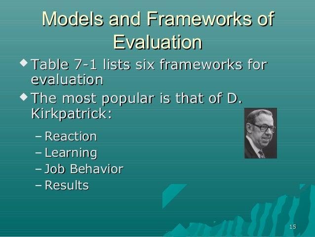 1515Models and Frameworks ofModels and Frameworks ofEvaluationEvaluation Table 7-1 lists six frameworks forTable 7-1 list...