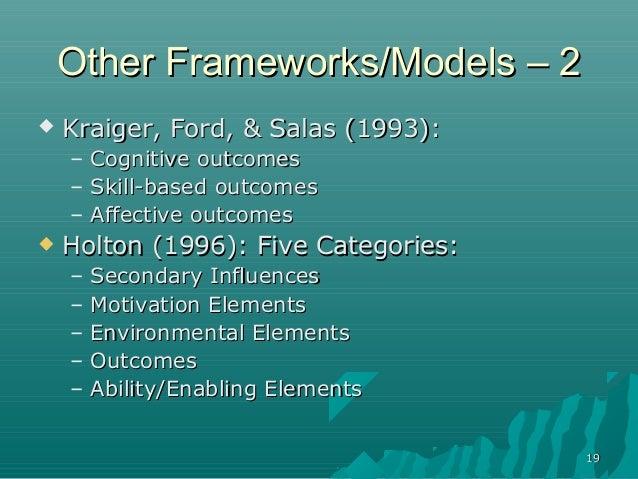 1919Other Frameworks/Models – 2Other Frameworks/Models – 2 Kraiger, Ford, & Salas (1993):Kraiger, Ford, & Salas (1993):– ...