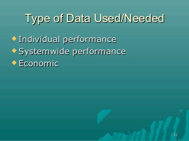3131Type of Data Used/NeededType of Data Used/Needed Individual performanceIndividual performance Systemwide performance...