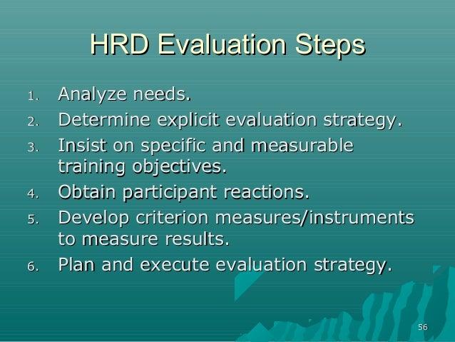 5656HRD Evaluation StepsHRD Evaluation Steps1.1. Analyze needs.Analyze needs.2.2. Determine explicit evaluation strategy.D...