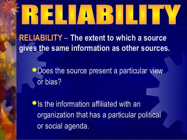 reliability of internet sources