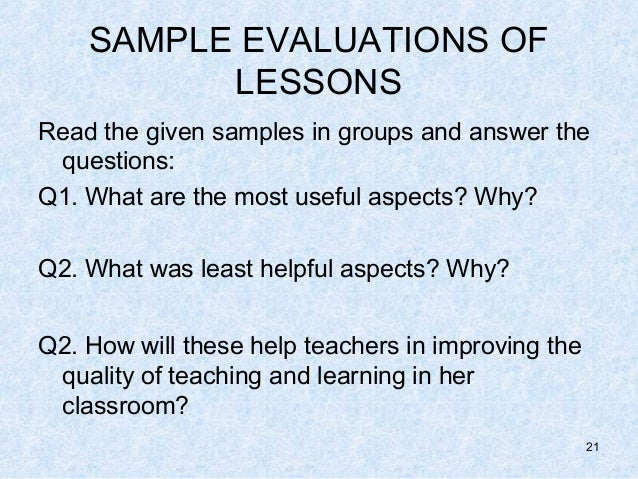 SAMPLE EVALUATIONS ...
