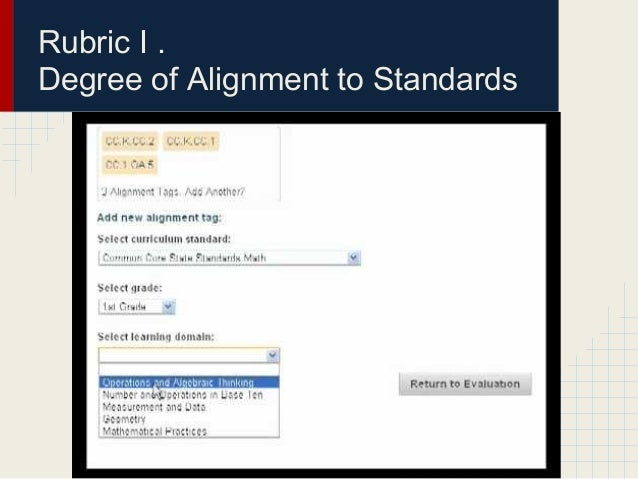 Rubric I .Degree of Alignment to Standards