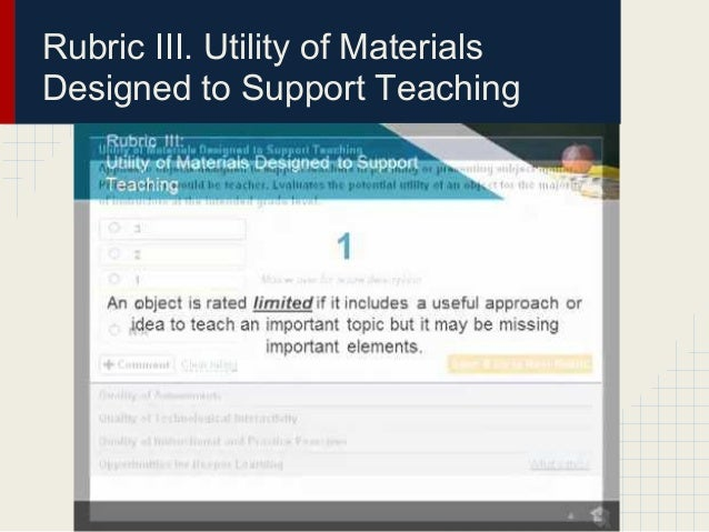 Rubric III. Utility of MaterialsDesigned to Support Teaching