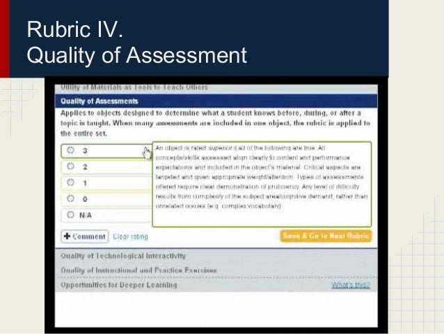 Rubric IV.Quality of Assessment